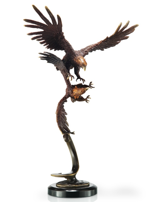 Bronze Double Flying Eagles Sculpture