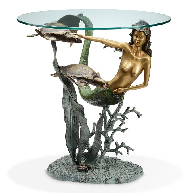 Mermaid and Sea Turtles Glass Top End Table
