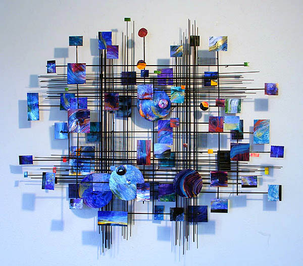 Blue Metropolis Metal Wall Sculpture