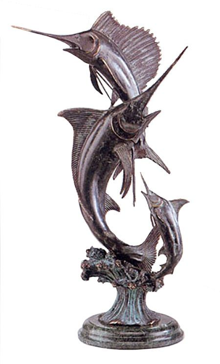 Bronze Marlin and Sailfish Sculpture