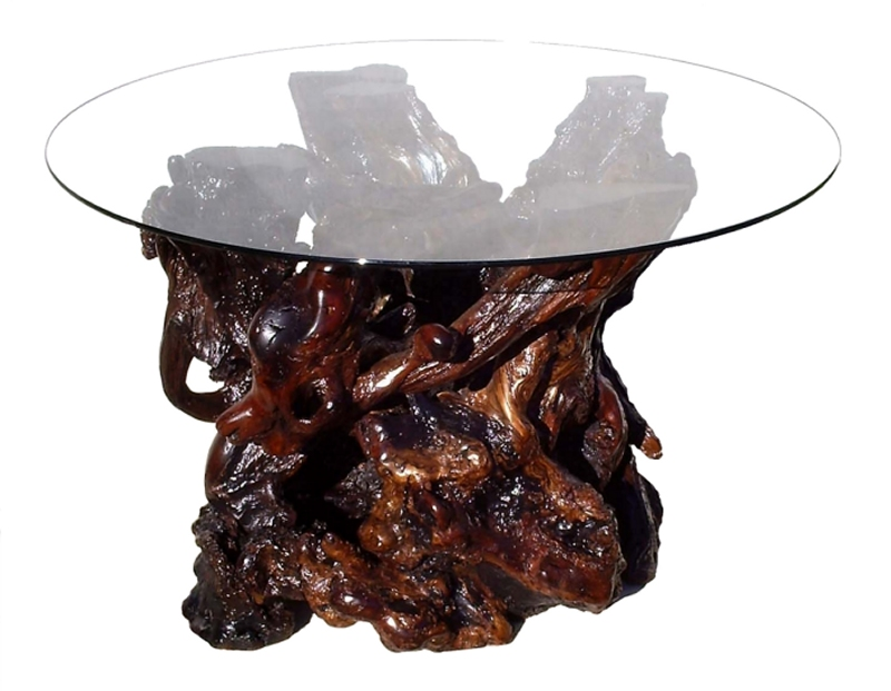 Custom Redwood Burl Glass Top Dining Table