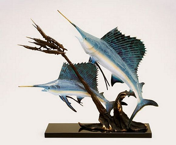 Bronze Sailfish Duo Sculpture