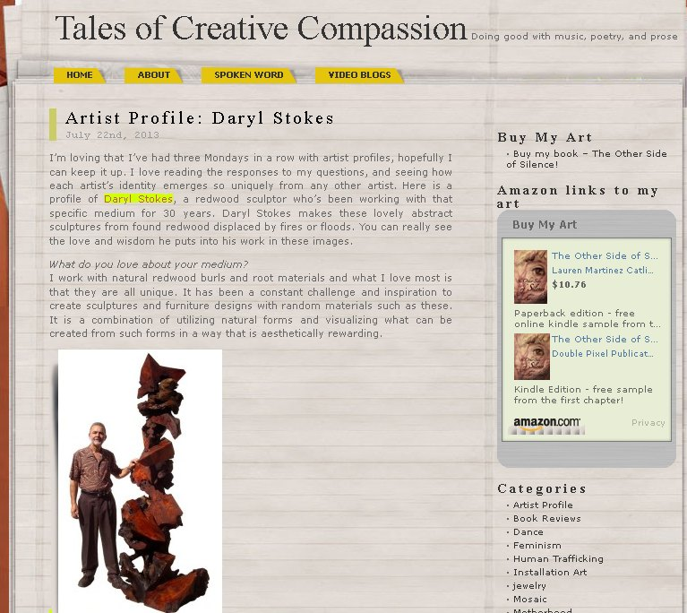 Artist Blog For Daryl Stokes