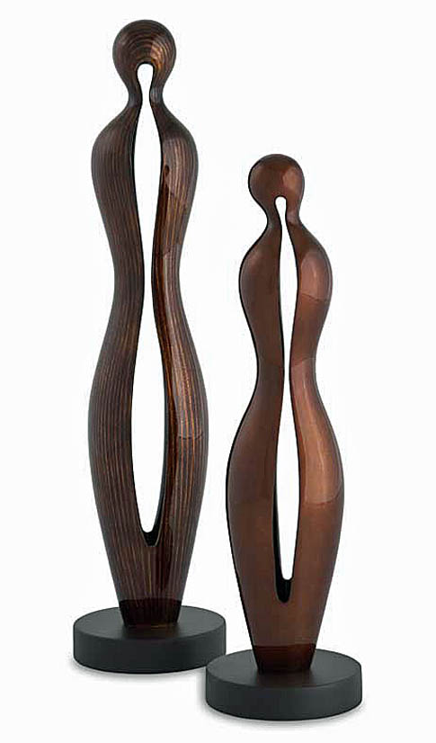 """Couple III"" Abstract Wood Sculpture Set"