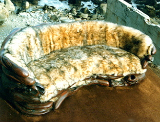 S.Driftwood and Sheepskin Curved Sofa